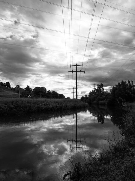 Burberry sky Clouds And Sky Morning Sky Magicoflight Oberriet Switzerland Rhine Valley June 2016 Electricity  Burberry Clouds Weather Power Power Lines Energy Blackandwhite Cableicious Sky Reflection Water