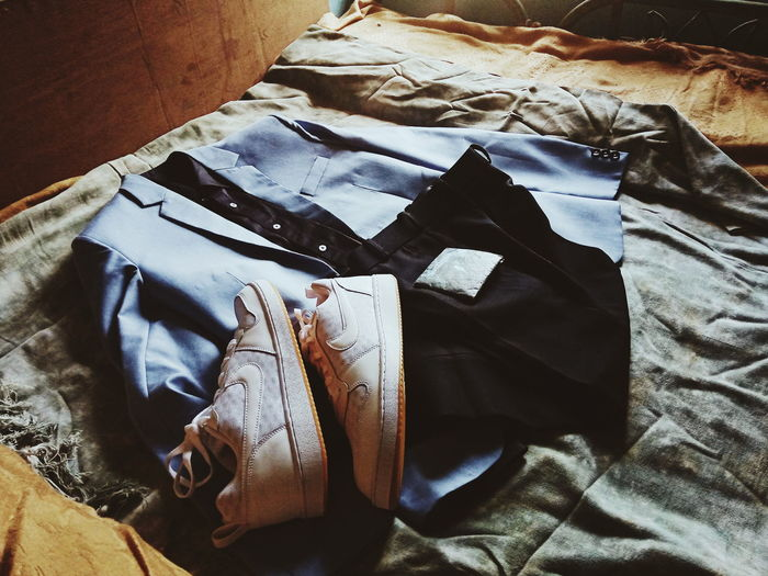 #Dressing #Flat #Nike #Blazzer #Love #EyeEmNewHere #outfit #nike #Dressing Bedroom Bed Sheet High Angle View Close-up Cloth First Eyeem Photo