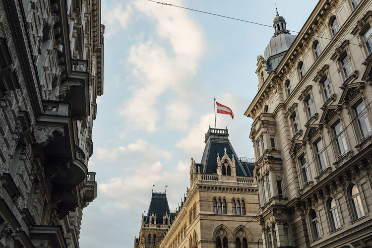 Building Exterior Architecture Built Structure Sky Flag Low Angle View Patriotism Building City Cloud - Sky Day History The Past Nature No People Travel Destinations Tourism Travel Outdoors National Icon Vienna Historical Building Austria