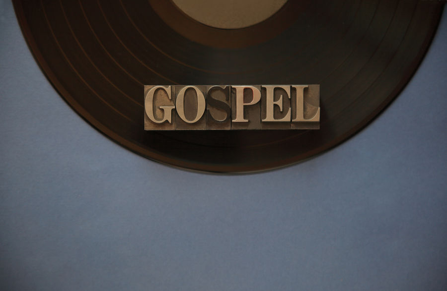Gospel word on vinyl record with copy space Black Circular Close-up Communication Copy Space Day Font Gospel Gray Indoors  Letters Metal Type Music Category No People Overhead Records South Africa Spiritual Studio Shot Text Typography Vinyl Record Word