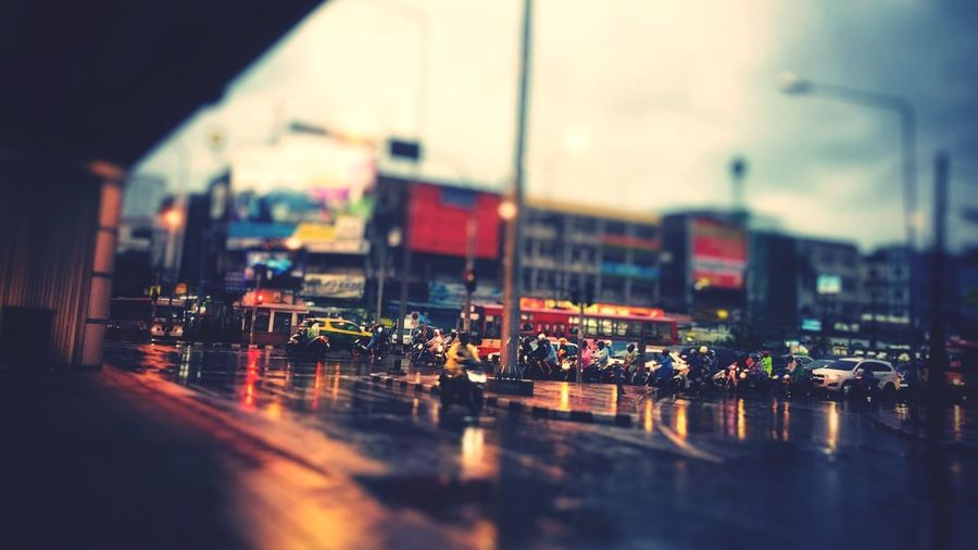 Small world in the rainy day Evening Rainy Days Bangkok Thailand. Taffic Jam Taffic Lights City Architecture Building Exterior Water Built Structure Selective Focus Reflection Sky Wet Transportation Motor Vehicle Car Nature Street Window Rain Mode Of Transportation