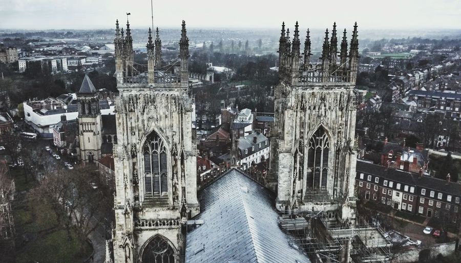 York Britain Rain Tower From My Point Of View Urban Exploration Memories High Angle View York Minster
