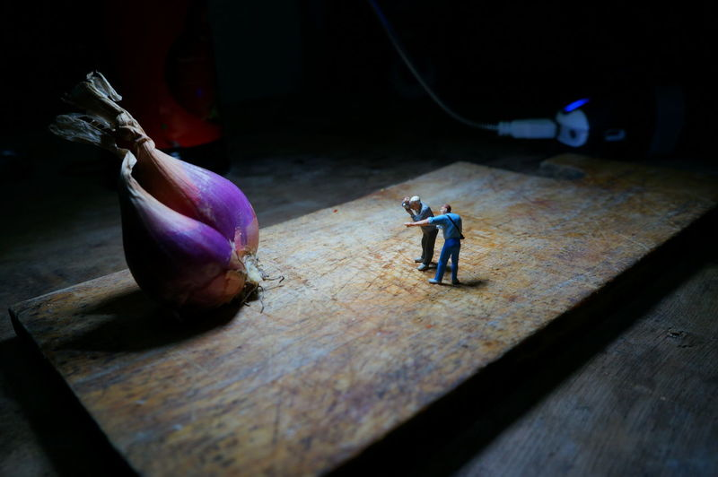 High angle view of figurines and shallots on cutting board
