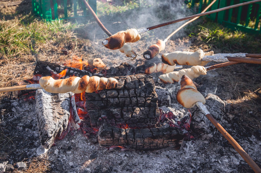 Heat - Temperature Fire - Natural Phenomenon Fire Burning Barbecue Food Meat Nature Flame Preparation  Food And Drink No People Day Skewer Barbecue Grill Camping Bonfire Outdoors Grilled Coal Preparing Food Campfire