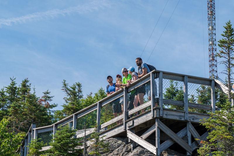 Low angle view of people on footbridge against sky