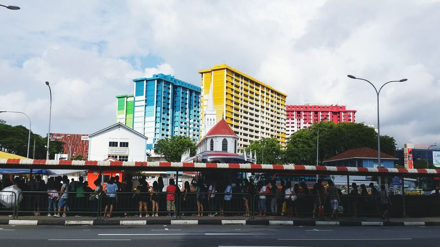 Architecture Skyscraper Built Structure Cloud - Sky City Building Exterior Modern Travel Destinations Outdoors Day Mode Of Transport Transportation Colours Cityscape Urban SkylineCity Street Travel Colourful The Street Photographer - 2017 EyeEm Awards Real People Singapore Road