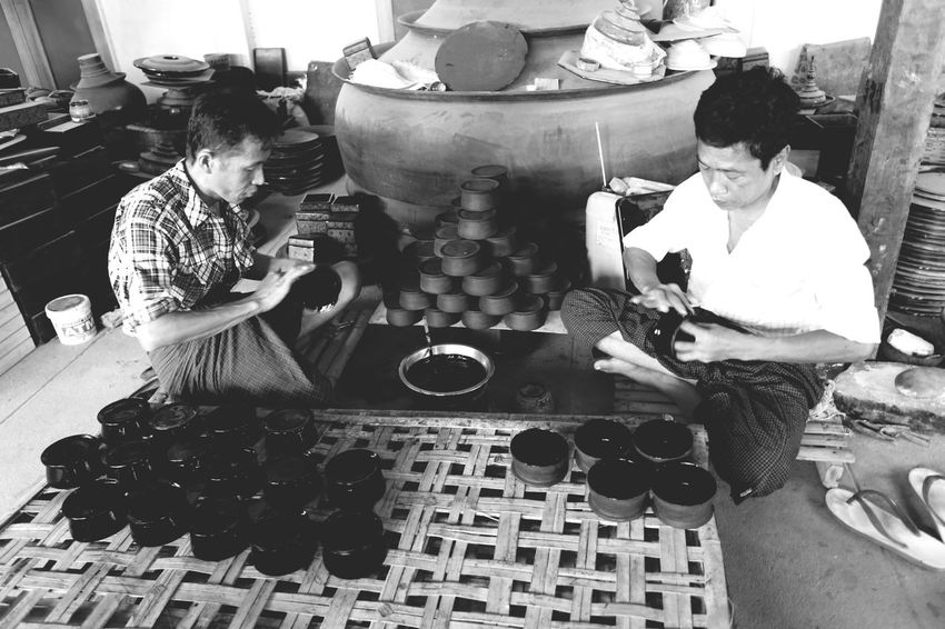 Real People Men Two People Women Indoors  Sitting Working Chess Day Crafts Craftsman Hand Craft