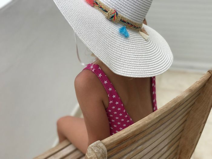 Clothing Hat One Person Women Real People Lifestyles Adult Leisure Activity Focus On Foreground Casual Clothing Sun Hat Straw Hat Obscured Face Outdoors Unrecognizable Person Textile Day Front View Sitting