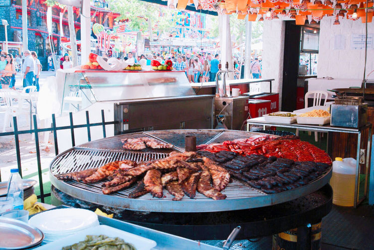 High angle view of meat for sale at market