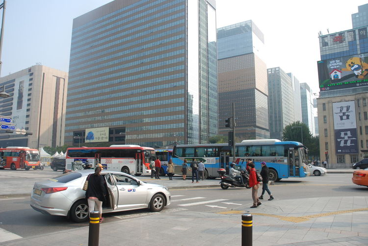 View of city street and buildings