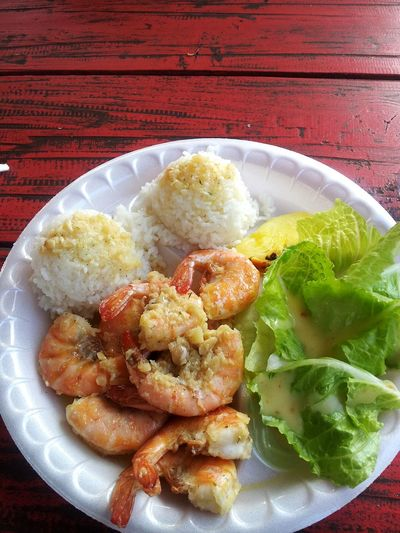 Hawaii Shrimp! Lunch Time! Lunch Plate Lunch Garlic shrimp plate from Kahuku food truck in Hawaii! One of my favorite comfort foods! Kahukushrimp