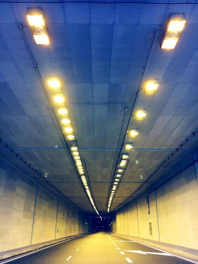 Illuminated Lighting Equipment Diminishing Perspective Transportation The Way Forward Indoors  Vanishing Point Ceiling In A Row Electric Light Long Tunnel Ceiling Light  Modern Lit City Life No People No Cars  Minimalist Architecture