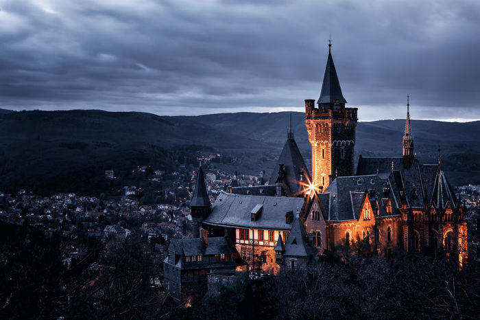 Architecture Building Exterior Built Structure Castle Cloud - Sky Harz High Angle View Illuminated Mountain Nature Night No People Outdoors Place Of Worship Religion Sachsen-Anhalt Schloss Sky Spirituality Wernigerode Wernigerodecastle