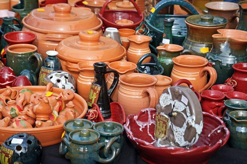 'Home-made is home-made',fair,3,colourful pottery,Zagreb,Croatia,EU, 2016 2016. Art And Craft Choice Close-up Collection Croatia Eu Fair For Sale Hand-made Home-made Is Home-made Multi Colored Pottery Table Zagreb