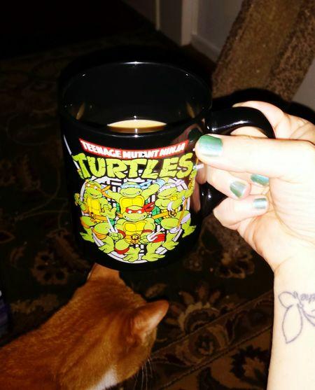 Coffee Time Catsofinstagram Tattooed TMNT🐢 Coffee ☕ Fuel Tooearlyforthisshit
