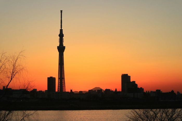 Sunset Tower Orange Color Japan Tokyo Skytree Tokyoskytree Sunset_collection Orangesky Dramatic Sky Silhouette Fuji Mtfuji