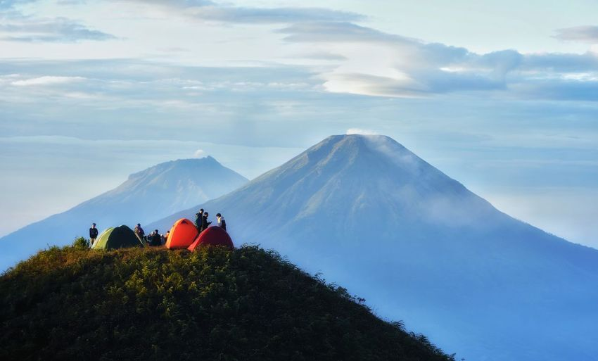 enjoy a cup of coffee in the morning INDONESIA Nature Summit Mountain Mountain Men Adventure Women Togetherness Sky Landscape Cloud - Sky Hiker Volcanic Landscape Backpack Hiking Mountain Climbing