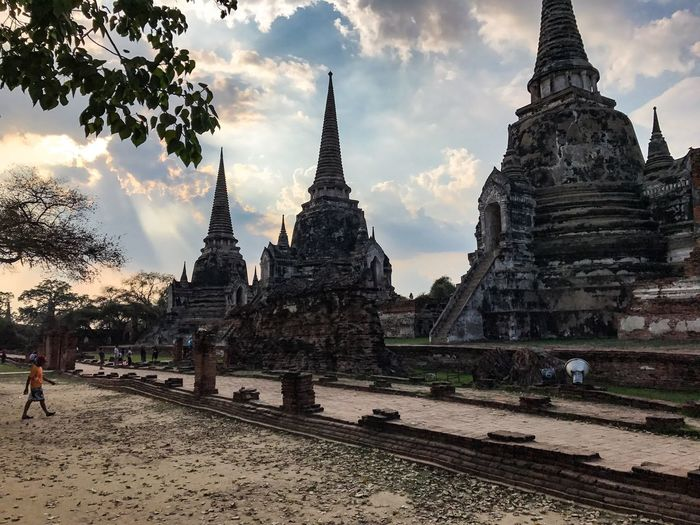 Architecture Spirituality Building Exterior History Built Structure Religion Travel Destinations Place Of Worship Ancient Civilization Sky Day Outdoors Thailand Ayutthaya Old Buildings Old Place Sunset Landscape Wat Wat Thai Travel Amazing Lighting IPhoneography Trip