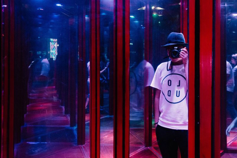 Shot - Neon Portrait Mirror Reflection Showcase: January EyeEm Best Shots Eye4photography  All The Neon Lights
