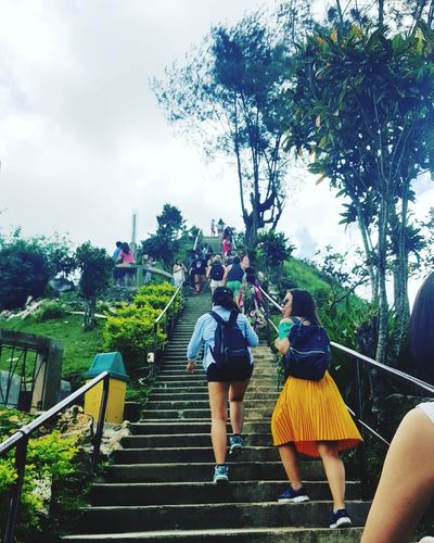 The climb Tree Sky People Women Cloud - Sky Adult Adults Only Steps Full Length Rear View Only Women Day Outdoors Togetherness Real People Two People Men Friendship Young Adult Tourism Scenics Adventure Travel Destinations Summer Philippines