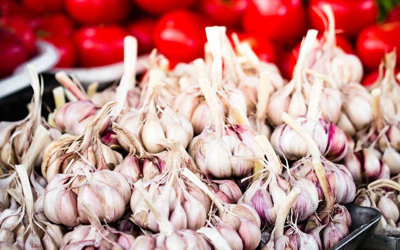 Close-up of garlic at market stall