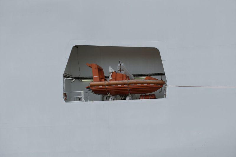 Rescue boat in ship