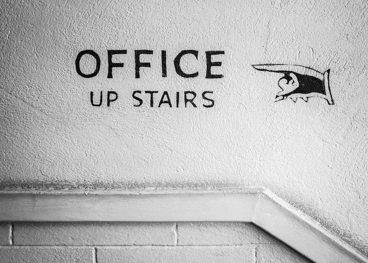Office Up Stairs Animal Themes Bird Close-up Communication Day Hand Painted No People One Animal Outdoors Signage Text Vintage