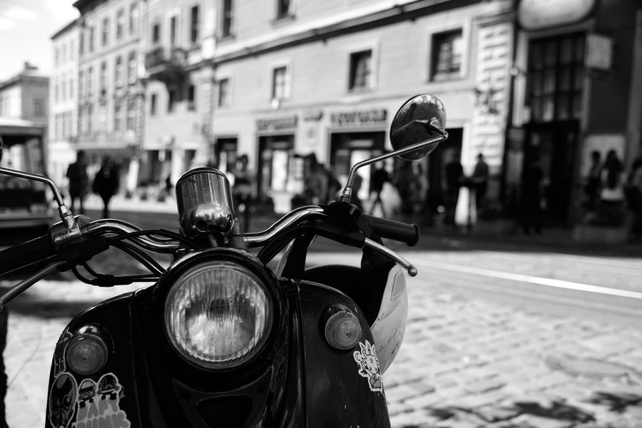 Motorcycles City Bicycle Handlebar Close-up Travel Destinations Street Photography Lviv, Ukraine Outdoor Photography City Black And White Photography B&h