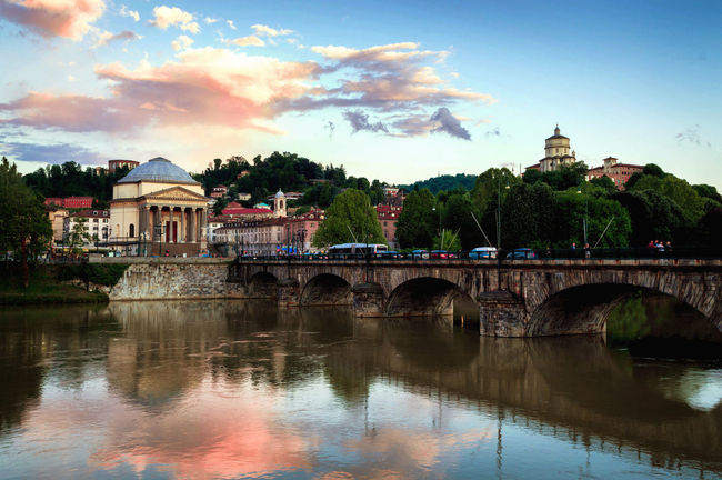 Architecture Built Structure City Life Cloud Cloud - Sky Gran Madre Torino Monte Dei Cappuccini Outdoors Reflection River Sky Sunset Tourism Travel Destinations Turin Water Waterfront First Eyeem Photo