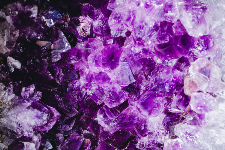 Full frame shot of purple gemstones