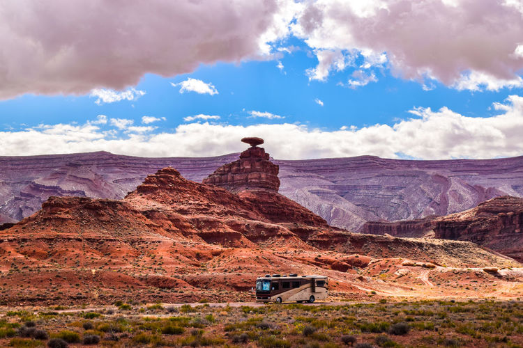 Roadtrip in the USA Mexican Hat Western Script Utah Monument Valley Camping Landscape EyeEm Best Shots EyeEm Nature Lover Sand Dune Desert Mountain Arid Climate Land Vehicle Sky Landscape Cloud - Sky Travel Geology
