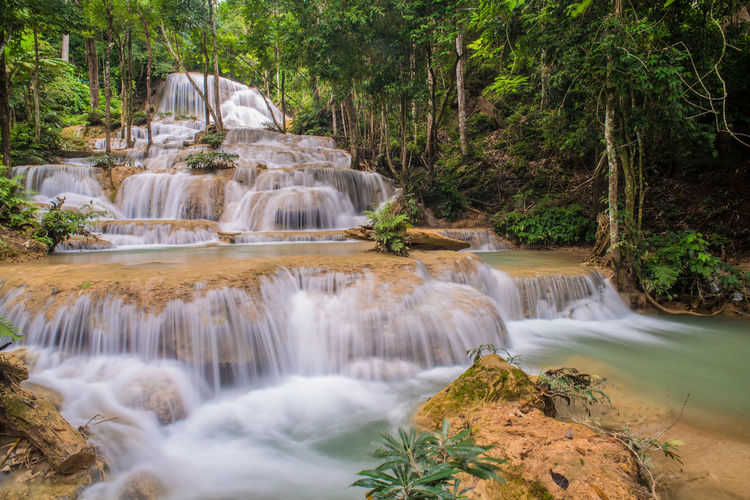 Mae Kae waterfall the Most Famous in Lampang, Thailand. Lampang Mae Kae Waterfall Rock Tree Beauty In Nature Day Forest Motion Nature No People Outdoors River Scenics Splash Stone Water Waterfall
