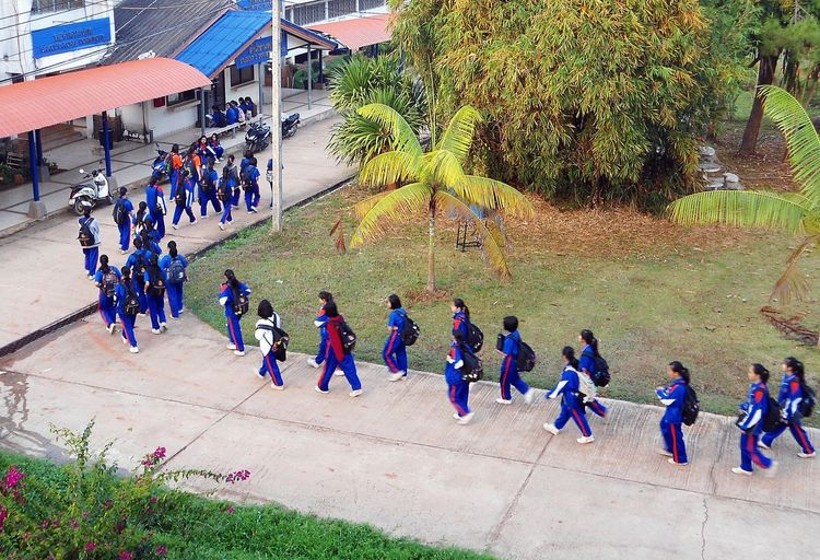 student in boarding school Student Thailand Uniform Activity Girls Large Group Of People Outdoors People Real People School Women