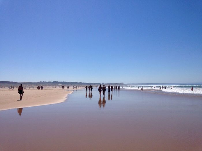 People enjoying at beach against clear blue sky