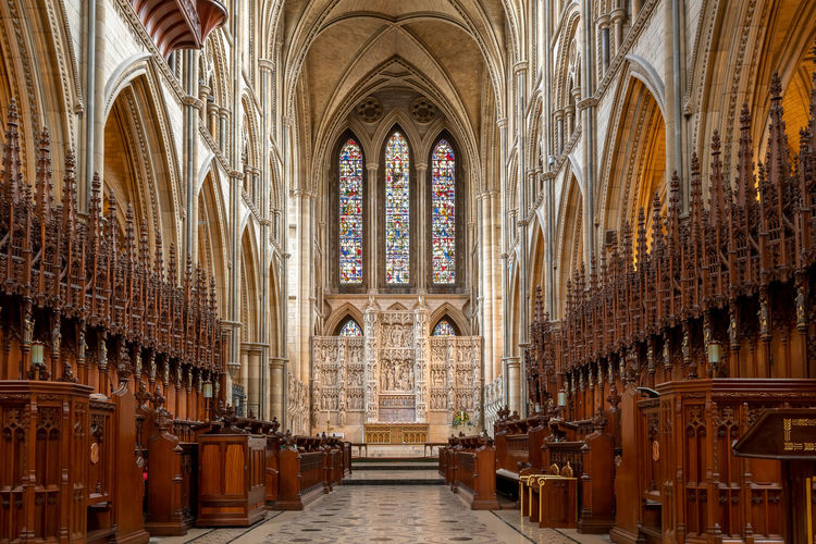 View of the inside of truro cathedral in cornwall
