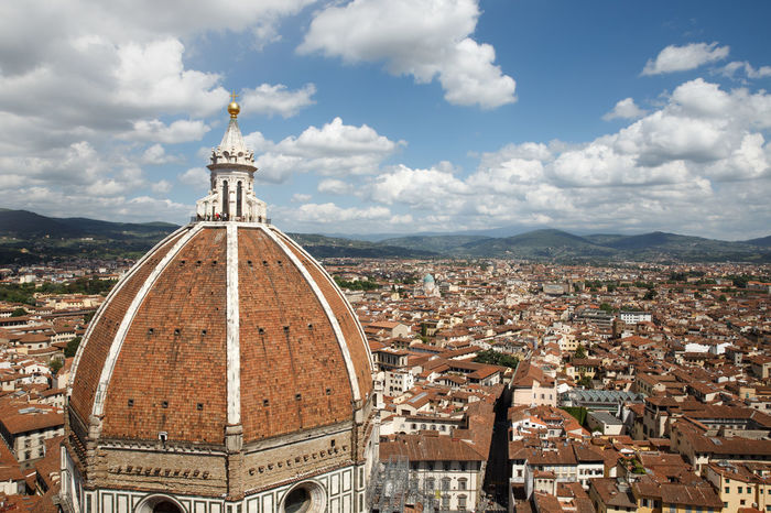 Aerial View Architecture Building Exterior Built Structure City Cityscape Cloud - Sky Crowded Day Dome Duomo Santa Maria Del Fiore Elevated View Outdoors People Place Of Worship Real People Religion Sky Spirituality Summer Travel Destinations UNESCO World Heritage Site