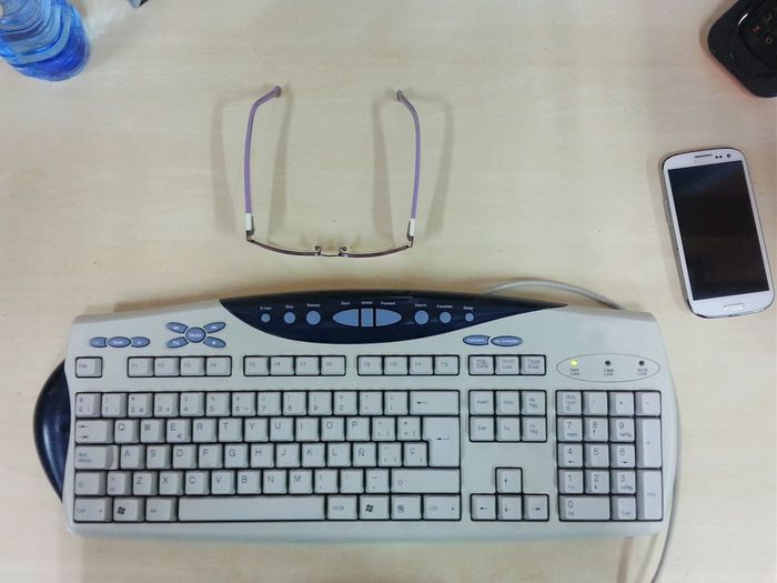 Desks From Above My prission Keyboard Glasses Water Smartphone Open Edit