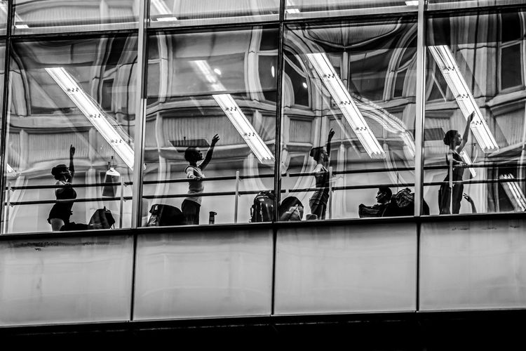 """Previous Practice"" Architecture Ballerina Ballet Ballet Class Ballet Dancer Black & White Blackandwhite Built Structure Day EyeEm Best Shots EyeEm Gallery EyeEmBestPics Illuminated Indoors  Large Group Of People Lifestyles Motion People Public Transportation Real People The Portraitist - 2017 EyeEm Awards The Street Photographer - 2017 EyeEm Awards Women EyeEm Selects Fresh on Market 2017 The Art Of Street Photography"