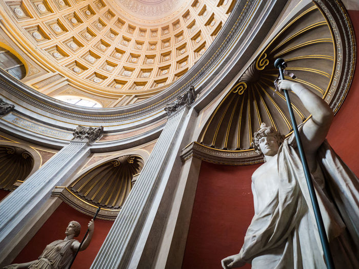 Wide-angle view of a statue in the Vatican museum in Rome, Italy. Italia Rome Travel Architectural Column Architecture Ceiling Courthouse Dome Italy Low Angle View Museum No People Religion Sculpture Statue Travel Destinations Ultra Wide Angle Wide Angle The Traveler - 2018 EyeEm Awards