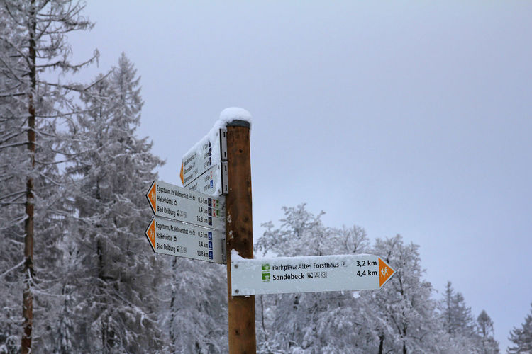 Information sign by trees against sky during winter
