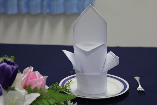 Napkin Folding NapkinFolding Napkins Beauty In Nature Crockery Cup Drink Flower Flower Head Flowering Plant Food And Drink Freshness Glass Hotel Service Indoors  Mug Napkin Nature Refreshment Restaurant Rosé Saucer Still Life Tray Vulnerability