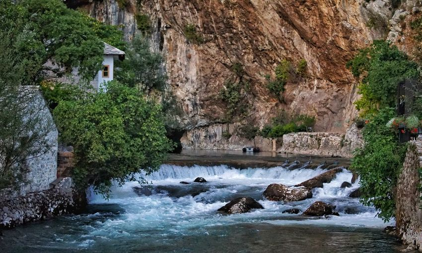 Bosnia Architecture River Motion Water Nature Tree Day Waterfall Outdoors Long Exposure Mountain Cliff Scenics Beauty In Nature Mammal No People Rock - Object Animal Themes Built Structure An Eye For Travel