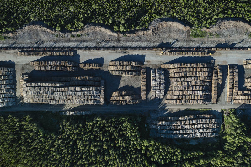 Timber terminal in Jämtland, Sweden. The Great Northern Forest is a vast area of ancient boreal forest that stretches from Alaska, through Canada and Scandinavia, all the way to Russia. It stores more carbon than all tropical rainforests added together. This immense forest plays a critically important role in holding back the impacts of climate change. Drone  Industry Looking Down Northern Forest Sweden Swedish Aerial Aerial View Damaged Deforestation Environment Environmental Issues Forest Forestry Industry High Angle View Nature No People Timber Timber Central Timber Terminal Tree