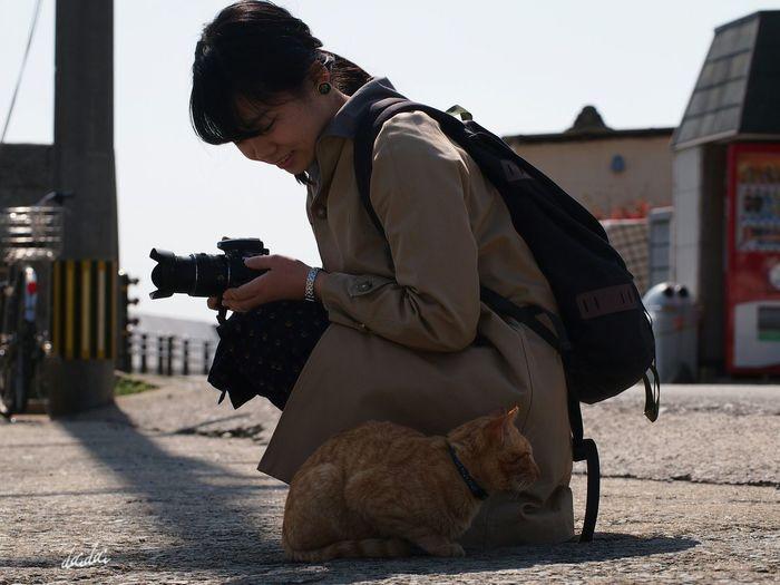 美女+猫→最高の一枚 E-PL3 Cat Island 相島 島 猫 猫島 Girl カメラ女子 ちゃんと許可もらった Noedit