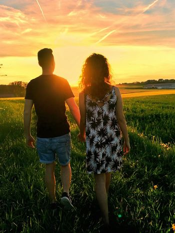 Sunset Field Nature Summer Togetherness Agriculture Two People Adult Grass Silhouette Growth Flower Teenager Rural Scene Beauty In Nature People Cloud - Sky Plant Sky Outdoors Love Fiance You And Me You And I