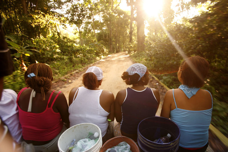 Rear View Of Women Amidst Trees On Road