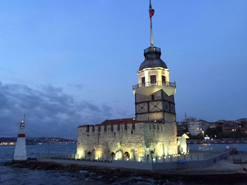 Cities At Night Maiden Tower Maiden Tower Istanbul Istanbul Bosphorus Turkey Türkiye Kiz Kulesi Leander's Tower Tourism Lights