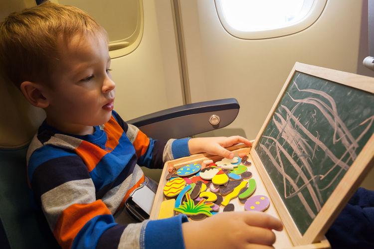 Activity Airplane Art Board Boy Caucasian Chalk Child Childhood Draw Flight Kid Learning Game Leisure Magnet Plane Play Smile