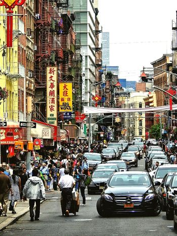 Chinatown New York Chinatown New York City New York Car City Outdoors City Life Building Exterior Large Group Of People Day