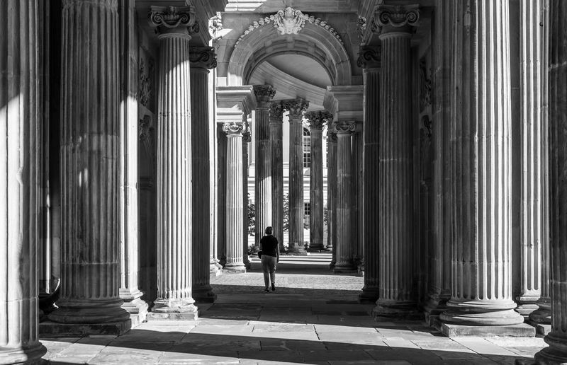 #urbanana: The Urban Playground Arcade Arch Architectural Column Architecture Black And White Blackandwhite Building Building Exterior Built Structure Colonnade Corridor Day History In A Row Incidental People Light And Shadow Neo-classical One Person Outdoors People Pillars Real People The Past Travel Travel Destinations Women A New Beginning